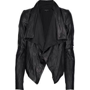 Theory Black Leather Robena Draped Jacket